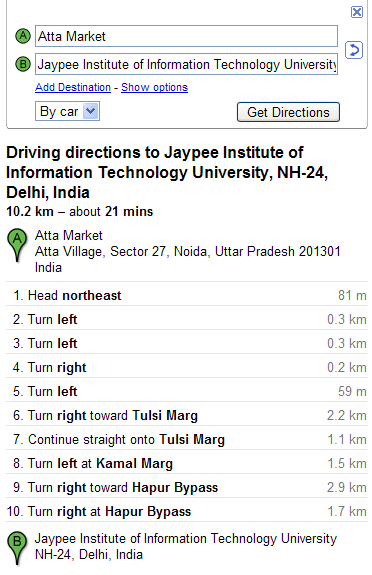 Driving directions in Google Maps India- woikr on