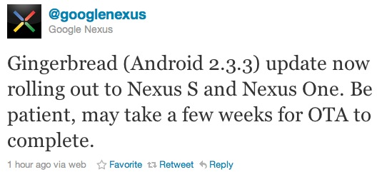 Nexus One Official Gingerbread OTA Update