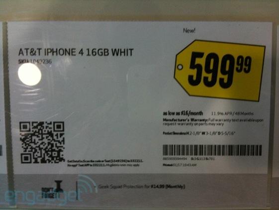 White iPhone 4 best buy 599 dollars