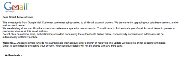 Gmail Phising scam email