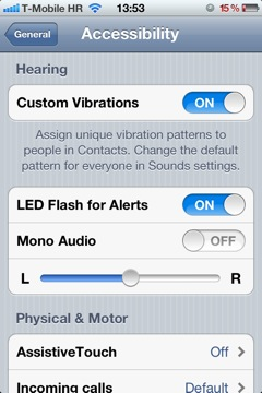 IOS 5 Settings General Accessibility Custom Vibrations