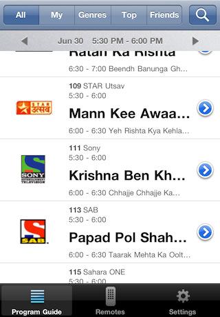 Tatasky iphone app program guide