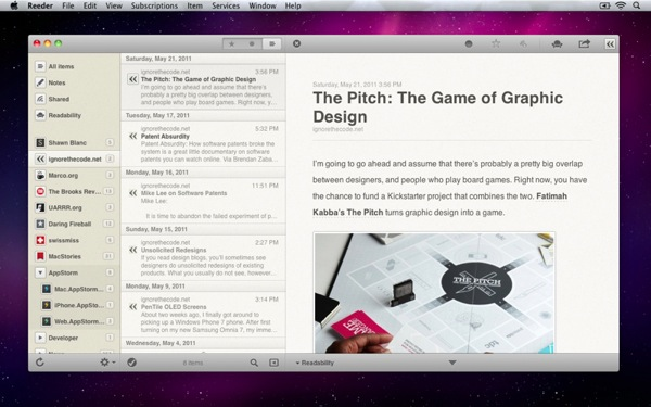 Reeder mac screenshot 1
