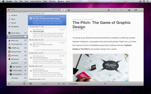 Reeder mac screenshot 2