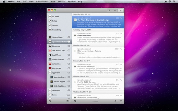 Reeder mac screenshot 3