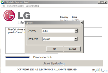 LG Mobile Support Tool - Country and Language
