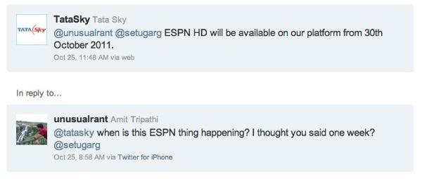 TataSky ESPN HD Tweet